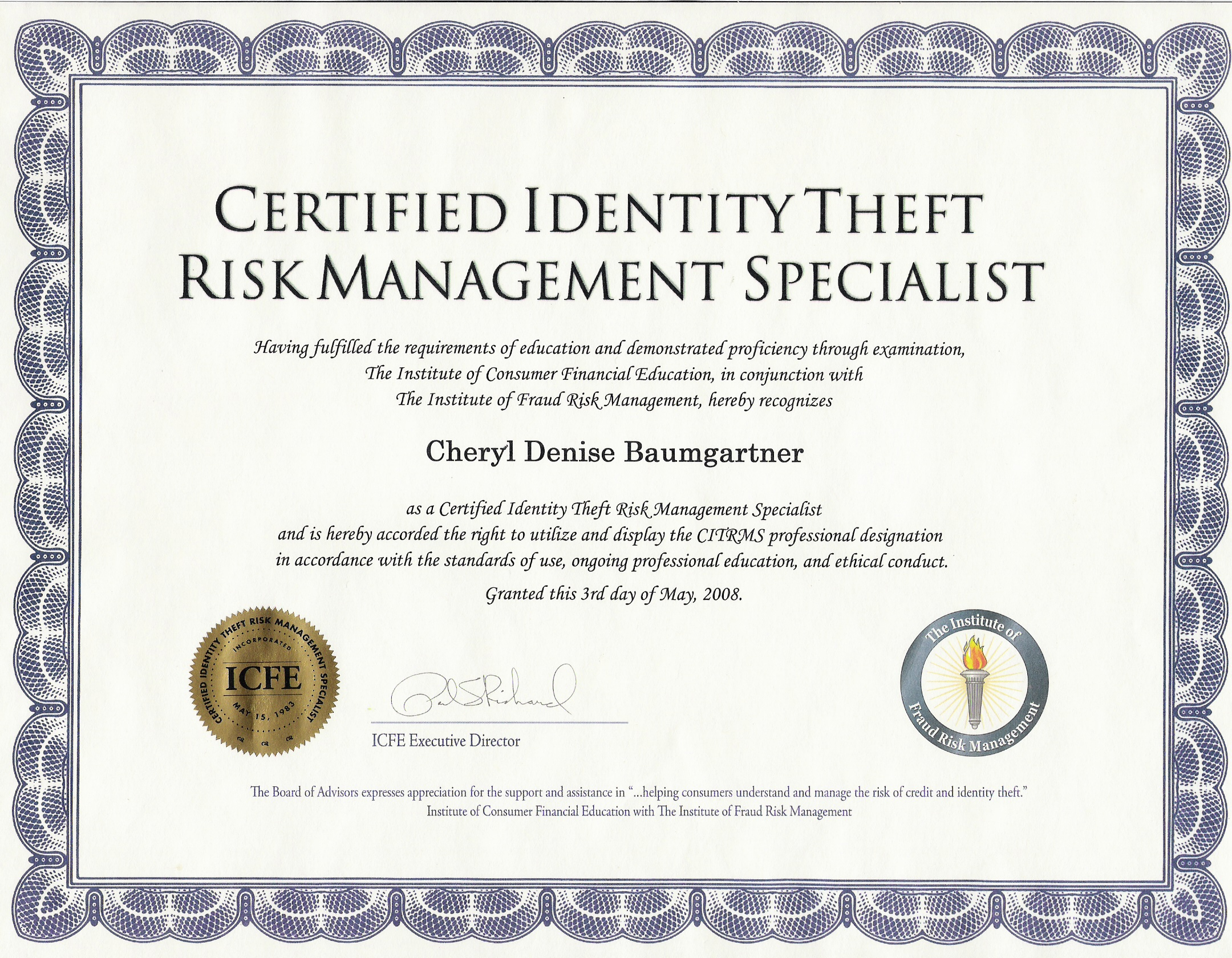 Certified Identity Theft Risk Management Specialist Citrms